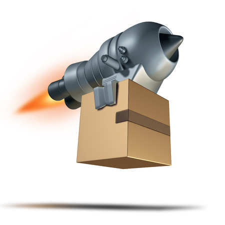 payload: Express delivery service symbol and freight transport concept for fast courier shipping as a rocket engine blasting off to quickly deliver a package box shipment.