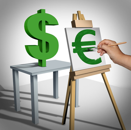 foreign policy: Currency conversion and money exchange financial business concept as a three dimensional dollar sign being painted on a canvas as a euro value rating  icon and a finance symbol for monetary trading. Stock Photo