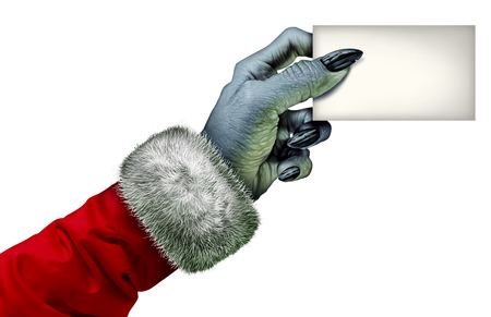 selfish: Selfish holiday monster or miser character holding a blank card as a cheapskate scrooge hand symbol wearing a red coat as an icon for winter selfishness behavior isolated on a white background. Stock Photo