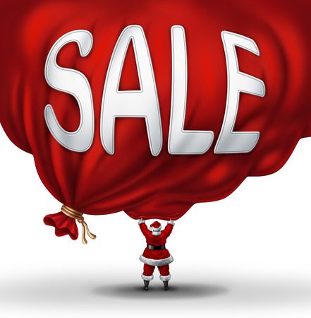 santaclause: Big Christmas Sale symbol and holiday discounts icon as Santaclause lifting up a huge red gift bag with text on the promotional object as a concept for special winter season specials at retail stores. Stock Photo