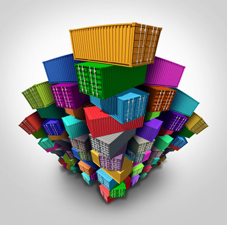 Cargo freight containers stacked high in a group as an export import shipping concept or embargo and sanctions symbol as global trade management icon.