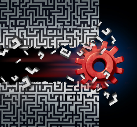 new solutions: Business success solution concept as a machine gear or mechanical cog breaking through a maze or labyrinth as a metaphor for disruptive technology or ground breaking innovation. Stock Photo