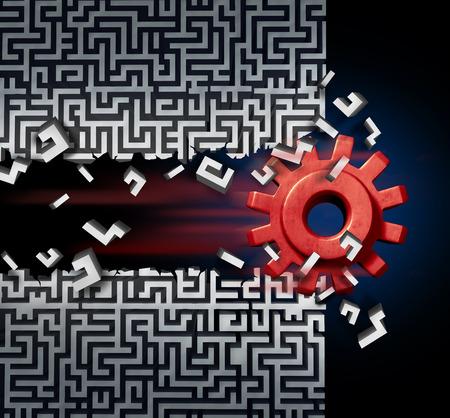 engranes: El éxito del negocio concepto de la solución como un engranaje de la máquina o la rotura mecánica de cremallera a través de un laberinto o el laberinto como metáfora de la tecnología disruptiva o la innovación innovador.
