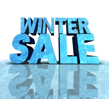 boxing day sale: Winter sale sign made with a chunk of frozen ice as a seasonal promotion and new year advertisement for cold weather retail discounts.