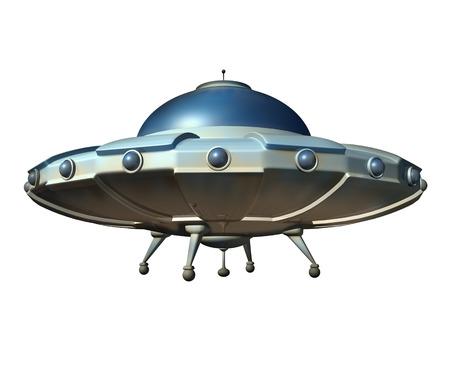 platillo volador: Nave espacial volando platillo aislados sobre un fondo blanco como un aerodeslizador extraterrestre ovni cl�sica del espacio exterior como un s�mbolo de la ciencia ficci�n para sondear la teor�a de la conspiraci�n nave espacial extraterrestre. Foto de archivo