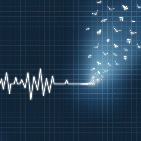 Afterlife concept as an ecg or ekg medical heart monitor lifeline  showing a flatline transforming into white doves flying upward towards heaven as a spiritual faith metaphor for believing in life after death.