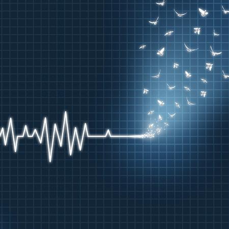 el cielo: concepto más allá como un ECG o EKG corazón monitor médico salvavidas que muestra una línea plana transformando en palomas blancas volando hacia arriba, hacia el cielo como una metáfora espiritual fe para creer en la vida después de la muerte. Foto de archivo