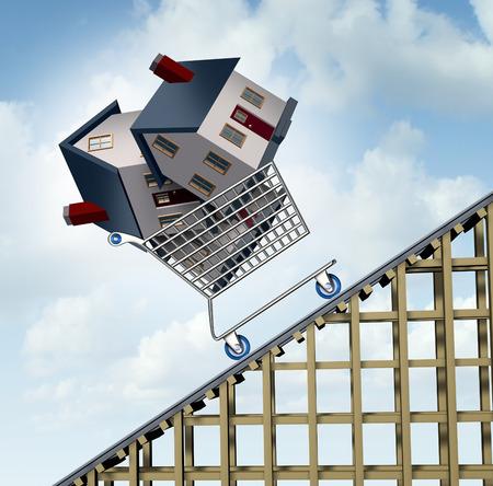 Stijgende huizenprijzen en huizenprijs prijsstijging of groei als een scherpe stijging van de vastgoedwaarde financiële concept en verkocht huizen in een winkelwagentje gaan van een achtbaan als deinende residentiële zakelijke financiële concept.