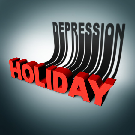 pressure loss: Holiday depression concept and party season anxiety and emotional crisis concept as a three dimensional text with a cast shadow of the word for sadness as a metaphor for hidden seasonal stress and loneliness.