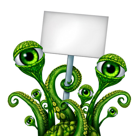 beast creature: Space Alien Creature from outer space or a mutant holding a blank sign as a green creepy UFO icon presenting a message as a fantasy science fiction symbol.