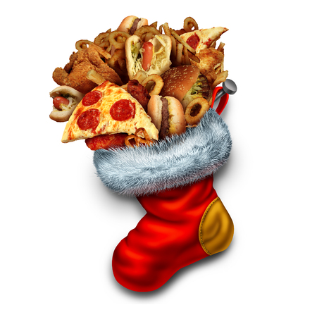 vegetarian hamburger: Unhealthy holiday eating symbol as a group of greasy fast food as hamburgers hotdogs and fried chicken stuffed in a red christmas stocking as an icon for obesity and overeating during the winter holidays.