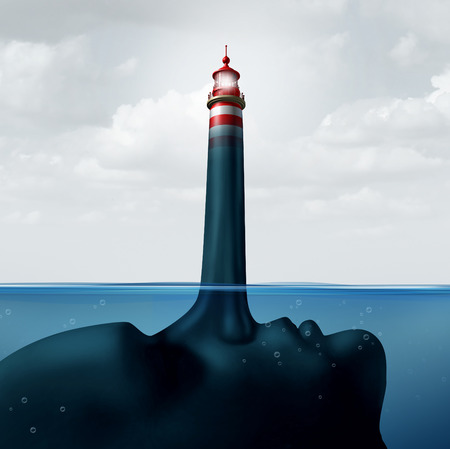 dishonest: Mislead and misleading business concept as a human face under water with a liar nose protruding out shaped as a shinning beacon lighthouse providing false guidance and fraudulent advice. Stock Photo