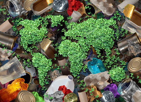 Recycle global rubbish for the environment and garbage concept or recycling waste management icon with old paper glass metal and plastic household products to be reused helping with nature conservation for saving energy and money.