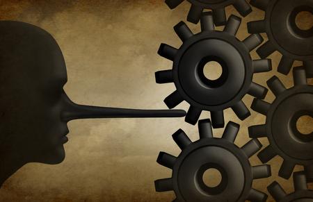 Industry Korruption und unlautere Geschäftspraxis als korrupt betrügerische Person mit einer langen Nase liar beweglichen Maschinengetriebe als Metapher für illegale Wirtschaftskriminalität oder Firmen Betrug.