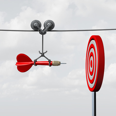 Úspěch zasáhnout cíl jako koncept obchodní pomoci s pomocí vodítka jako symbol pro správu dosažení cíle a snažit se trefit do černého jako oštěp ujistil jet rovně směrem do středu.