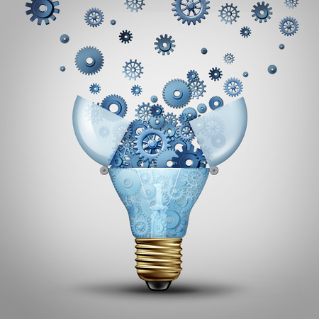 lightbulb: Creative communication solution and clever marketing ideas through distribution as an open lightbulb with a group of gears and cog wheels released spreading out as a metaphor for brainstorm or brainstorming. Stock Photo