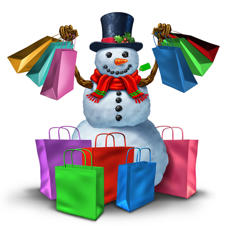 holiday symbol: Winter shopping and christmas sale concept as a happy snowman holding a group of retail store bags as a joyous customer and holiday shopper symbol.