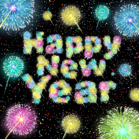 newyear: Happy new year celebration text made with bursts of fireworks display with an illumination light show on a night sky with festive confetti as a holiday symbol for the first day of the year future joy and success. Stock Photo