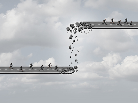 new build: Business relocation concept as a road breaking apart with the broken pieces creating a new highway of opportunity for another team of employees as an industry move metaphor or a winners and losers icon.