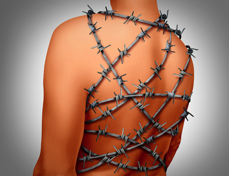 arthritis: Chronic Back Pain and human spinal backache with a body showing the vertebra area wrapped in barbed or barb wire as a medical health care concept for arthritis or joint stress and painful suffering due to disk or joint inflammation.