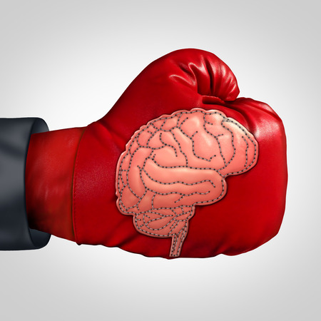 mental activity: Strong brain activity and training the mind to perform in intelligence and memory as a boxing glove with a patch shaped as the human thinking organ stitched into the leather as a mental health symbol for education or brainstorm.