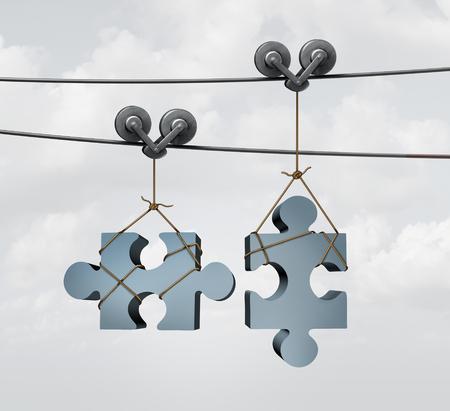 Raccordement des pièces de puzzle comme une fusion ou la fusion de concept d'entreprise avec deux objets de puzzle sur les fils de câble à deux d'orientation ou zip doublure outil d'alignement et de venir ensemble comme un partenariat. Banque d'images - 49949601