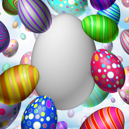 Easter Celebration Blank Egg concept as a group of flying decorated eggs with one large white egg as a symbol for spring festive message communication.