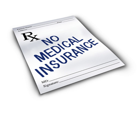 hospital fees: No medical insurance symbol and two tier health care system concept as a doctor prescription drug note with text representing the challenge of medicine affordability.