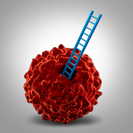 abnormal cells: Cancer research symbol as a cancerous malignant cell with a ladder going in as a metaphor for a close microscopic medical examination and finding a cure icon.