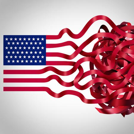 Gouvernement concept de ruban rouge et symbole de la bureaucratie américaine comme une icône du drapeau des États-Unis avec les rayures rouges s'emmêlés dans la confusion comme une métaphore de l'inefficacité politique et l'administration. Banque d'images