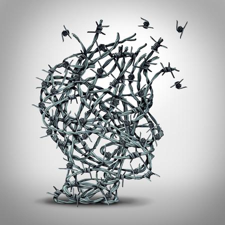 Rozwiązanie lęk i wolność od strachu i ucieczki od torturowanego myślenia i depresji koncepcji jako grupa lub splątanych barbwire ogrodzeniem z drutu kolczastego w kształcie ludzkiej głowy wyśmienitej jako metafora psychologicznej lub psychiatrycznej ikony. Zdjęcie Seryjne