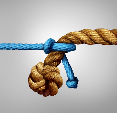 Different sized partnership concept as a thin blue cord pulling on a very thick rope as a metaphor for small and big business cooperation or unity with diversity.