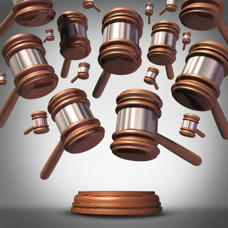 proceedings: Class action lawsuit concept as a plaintiff group represented by many judge mallets or gavel icons coming down as a symbol for social litigation or organized legal legislation. Stock Photo