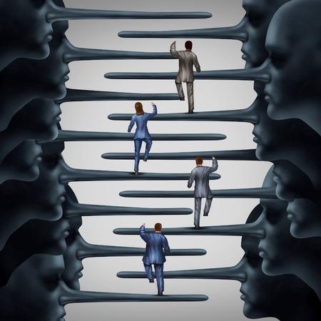 Concepto de sistema corrupto y deshonesto idea de la organización como un grupo de hombres de negocios que sube una forma con los miembros de la dirección fraudulentas con narices largas mentiroso como una metáfora de la corrupción y el fraude corporativo o estructural escalera.
