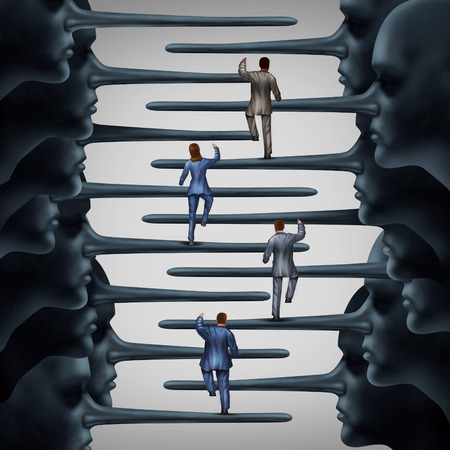 conform: Corrupt system concept and dishonest organization idea as a group of business people climbing a ladder shaped with fraudulent members of leadership with long liar noses as a metaphor for corporate or structural corruption and fraud. Stock Photo