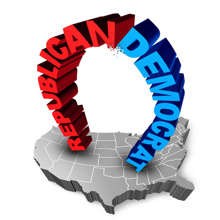political system: American election fight as Republican versus Democrat as two three dimensional text icons on a map of the United States fighting for the vote for presidential or government seats.