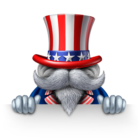 president of the usa: Uncle Sam character holding a blank horizontal sign as a patriotic icon of an American symbol of political government elections or fourth of july celebration person delivring a message.