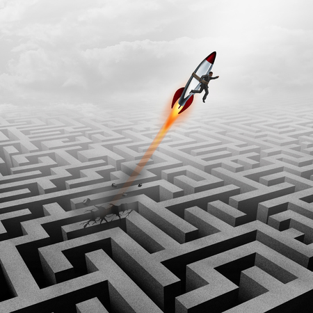 metaphoric: Business success concept and successful clever businessman motivation metaphor as a man breaking out of a maze with a rocket ship going upward towards a career goal getting past a metaphoric labyrinth puzzle obstacle. Stock Photo