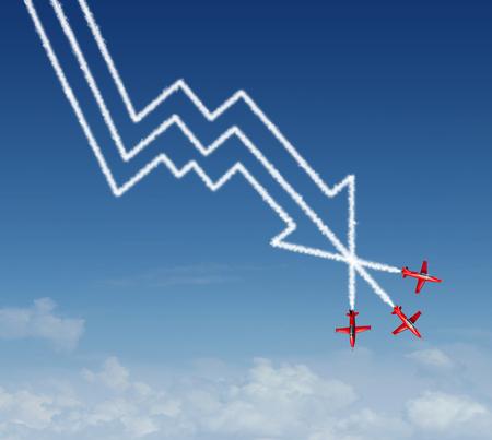 航空ショー: 空気のグループとして金融急落ビジネス概念を示すアクロ ジェット飛行機形の下向きの矢印で降下および利益の損失グラフに金融の図として煙のパ 写真素材