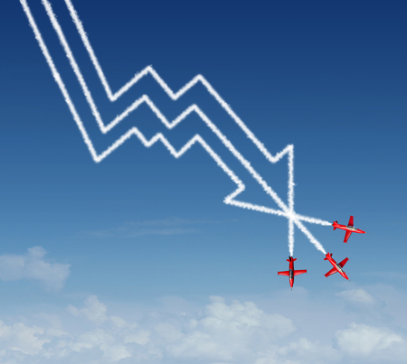 air show: Financial plunge business concept as a group of air show acrobatic jet airplanes creating a smoke pattern shaped as a finance diagram in descent and profit loss chart with a downward arrow.