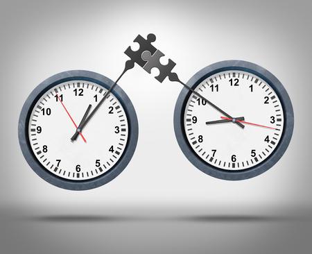 cronologia: Concepto de gestión del tiempo como dos relojes con los minutos de conexión como un rompecabezas que representa programas de citas de negocios globales de sincronización o la sincronización entre diferentes zonas horarias como una metáfora calendario corporativo.