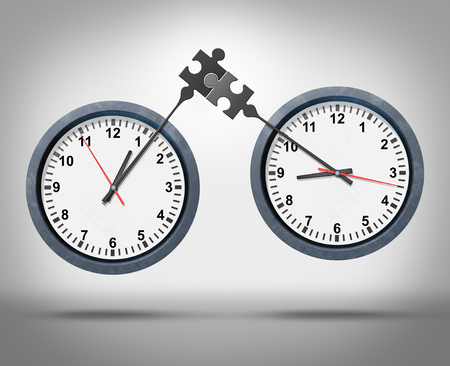 time zones: Time management concept as two clocks with minute hands connecting as a puzzle representing global business appointment schedules in sync or synchronization between different time zones as a corporate schedule metaphor.