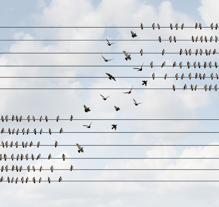 Change concept and changing team and allegiance symbol as a group of birds on a wire making a shift to a higher level as a business metaphor for restructuring or reorganization of a corporation or social political shift of opinion.