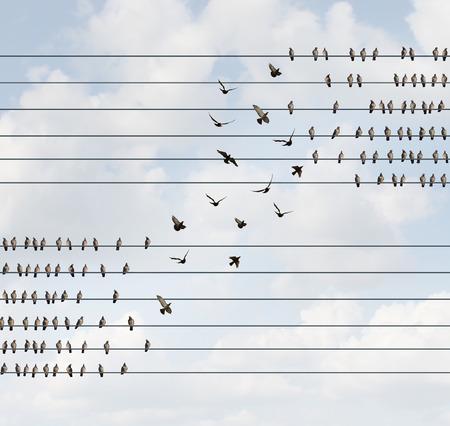 Mude o conceito e altere o símbolo da equipe e da lealdade como um grupo de pássaros em um fio, mudando para um nível superior como uma metáfora de negócios para reestruturação ou reorganização de uma corporação ou mudança de opinião política social. Foto de archivo