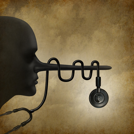 Medical liegt Konzept und Betrug im Gesundheitswesen Konzept als unehrlich Arzt Gesundheitswesen Symbol mit und ein Stethoskop um den langen Lügner Nase als Rechtsfrage Medizin Metapher gewickelt.