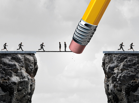 Missed opportunity concept and too late symbol as slow  and delayed businesspeople stuck on a bridge because an eraser erased the path with other quick employees continuing the race over the cliff as a business metaphor.