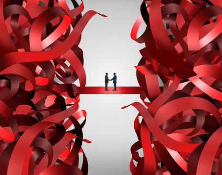 赤テープ ・ ソリューションとのパートナーシップとして経営上の問題を解決するために官僚ビジネス ハンド シェークは、企業や政府の規制の問題