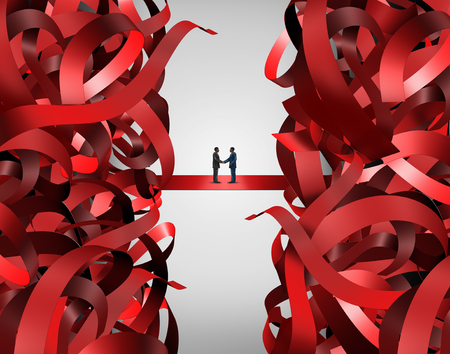 bureaucratic: Red tape solution and bureaucratic business handshake to solve a managerial problem as a partnership deal among two businessmen shaking hands to solve a corporate or government regulatory problem.