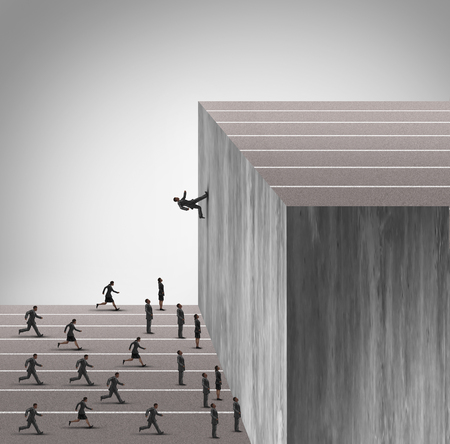 racing track: Upgrade business skill concept and career growth symbol as a businessman running on a vertical wall upward to achieve a winning goal leaving less skilled employees behind.