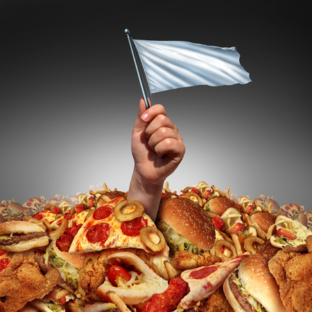 정크 푸드 항복과 지방이 많은 음식을 포기하거나 고지방의 라이프 스타일을 그만두고 다이어트 조언에 항복하여 식습관을 변화시키는 메타포로 기름진 패스트 푸드의 힙에 익사 한 흰색 flasg를 손에 들고 다이어트하는 데 도움이되는 개념. 스톡 콘텐츠 - 50924214